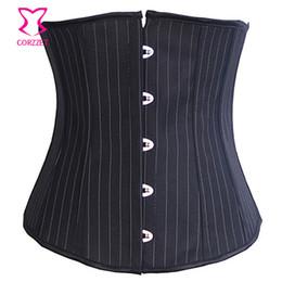 Women S Corsets Gothic Australia - Corzzet Gothic Sexy Black Striped Underbust Corset Steampunk Bustiers Top Burlesque Workout Body Shaper Belt Sexy Lingerie Women