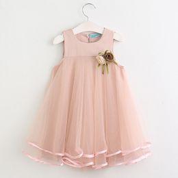 Girls dream dress online shopping - Retail kids designer girls dresses Flower Appliqued Vest Princess Dress Children Summer Dream A line Ruffle Dresses Kids boutique Clothes