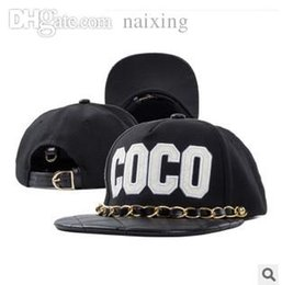 $enCountryForm.capitalKeyWord Australia - Wholesale-2015 iron chain leather snapback brand coco embroidered hip-hop baseball cap casual flat brimmed adjustable hat for men women