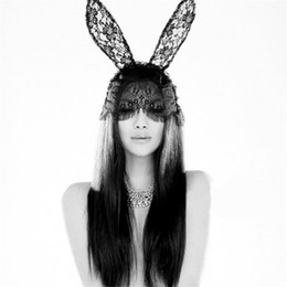 Black Bunny mask online shopping - Christmas Lace Bunny Rabbit Ears Mask Sexy Veil Headband Nightclubs Masquerade Mask Halloween Costume Party Face Mask JK1909