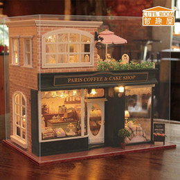 Coffee Housing Australia - DIY Wooden House Toy Wooden Miniature Hand-assembled Wooden coffee shop doll house with LED lights and music