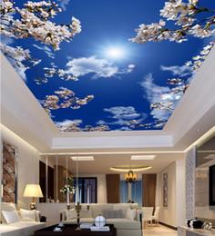 $enCountryForm.capitalKeyWord Australia - 3D ceiling Custom Beautiful cherry blossom blue sky mural wallpaper Living room bedroom 3d wallpaper abstract ceiling home decor wallpaper