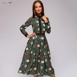 collared mid calf dress NZ - Vintage Patchwork Print Women Dress Female Casual Long Sleeves Stand Collar Mid Calf A Line Dress Autumn
