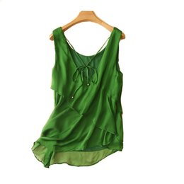 China Women Summer Silk Blouse V neck Sleeveless office wear casual elegant natural silk blouses Green print real shirt tops supplier elegant silk blouses suppliers