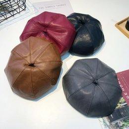 Fallen Hats Australia - Fall and Winter Fashion British Retro Pu Piberet Hat
