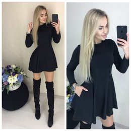 Flared Red Dress Australia - Spring New Casual Dress Women O-neck Fit and Flare Pockets Long Sleeve Mini Cute Party Dresses Black Red Wine Red Vestidos
