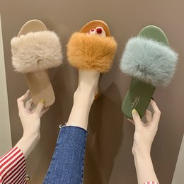 clear housing Australia - Women's Fur Slippers Indoor Flat Warm Furry Slippers Outside Girls Plush Sandals Women Slides Flip Flop House Shoes