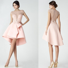 $enCountryForm.capitalKeyWord Australia - Sweet Light Pink Cap Sleeves Short Cocktail Dresses 2020 Crew Neck Tulle High Low Sexy Illusion Prom Party Wear Homecoming Dress
