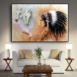$enCountryForm.capitalKeyWord Australia - Native American Indian Painting Feathered Woman Horse Canvas Posters and Prints Wall Art Picture for Living Room