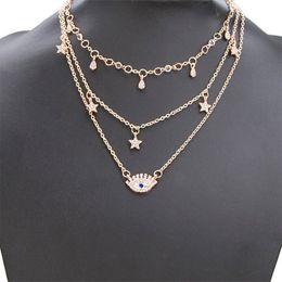 Eye Shaped Pendants Australia - Shinning Eyes Shape Pendant Women Custom Triple Necklace Chain For Girls Trendy Fashion Anniversary Long Necklace Jewelry