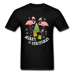 free clothe Australia - Flamingo TShirt Merry Christmas T-shirt Men Super Cute T shirt Pink Bird Print Adult Clothes Xmas Gift Tops Custom Free Shipping