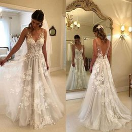 Wedding Dresses 2019 Sexy Illusion Back A-line Long V-neck Appliques Illusion Back Boho Wedding Dress Gown Sofuge Vestido De Noiva