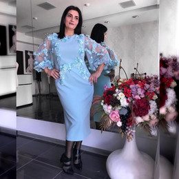Wholesale long length collar dress images for sale – plus size Light Blue Mother of the Bride Dresss Sheath D Flower Lace Appliqued Poet Long Sleeve Mothers Dresses Formal Evening Guest Gowns