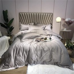 gray jacquard bedding Canada - 800TC Egyptian Cotton Jacquard Gray White Bedding Set QUEEN KING size Bed sheet Duvet Cover Bed set Bedclothes parure de lit