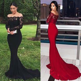Trumpet Mermaid Bateau Lace Dress Australia - Elegant Bateau Neck Mermaid Evening Dresses With Illusion Long Sleeves New 2019 Top Lace Off Shoulder Trumpet Prom Dress Formal Party Wear