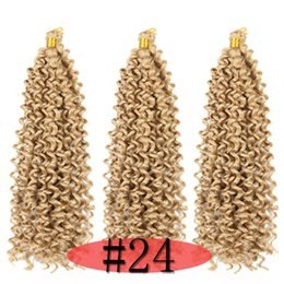 braids hair NZ - Synthetic Water Wave Braiding Hair Freetress Crochet Braids Curly Hair Blonde Color 14inch 300 roots 100g