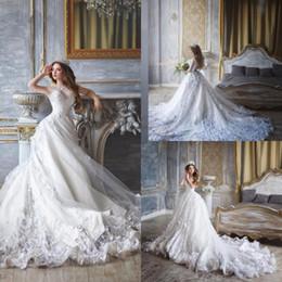 $enCountryForm.capitalKeyWord Australia - Lace Ball Gown Wedding Dresses Beaded Art Neck Monique Lhuillier Appliqued Bridal Gowns Sweep Train Long Dress For Bride