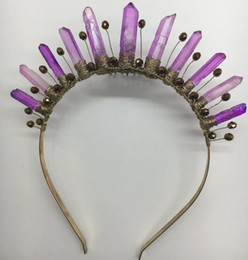 $enCountryForm.capitalKeyWord Australia - Violet Crown Purple Crystal Quartz Headpiece Mermaid Crown Boho Wedding Crystal Festival Bridal Crown Trending Headband