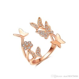 $enCountryForm.capitalKeyWord NZ - New delicate ring Butterfly and flower opening ladies ring Fashion copper silver plated rose gold zircon jewelry