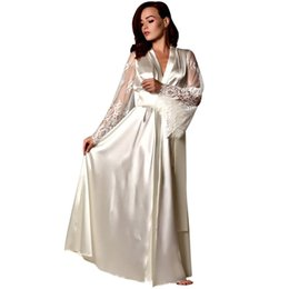 Long sLeeve robes Lingerie online shopping - Women Pajamas Women Satin Long Nightdress Silk Lace Lingerie Nightgown Sleepwear Sexy Robe nightgown sexy lingerie hot
