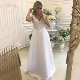 $enCountryForm.capitalKeyWord Australia - Graceful White V-Neck Wedding Dresses Cap Sleeve Lace Pearls Bow Sash Bridal Gown Sweep Train Bride Dress Plus Size Liyuke
