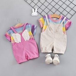 Stage Shirts Australia - Summer Children's Clothing Boys Girls Cute Wings Short-sleeved T-Shirt And Bib Suits Sets Costumes Party Clothing Girl Kids Clothing
