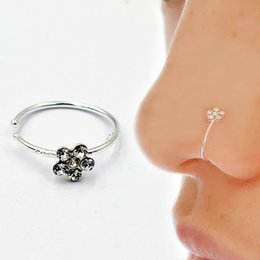 nose rings packs NZ - Small Thin Flower Clear Crystal Nose Ring Hoop Tragus Helix Ring Conch Piercing 20pcs pack