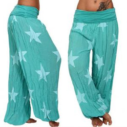$enCountryForm.capitalKeyWord Australia - Womens Star Wide Leg Pant Casual Yoga Fitness Sports Pants Print Loose Long Pants Trousers LLA297