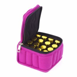 gold make up bag 2019 - 2018 Travel Double Zipper Oil Carrying Case 16 30 Lattices Organizer Cosmetic Bag Essential Oil Bottle Storage Box Make