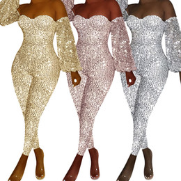 One piece jumpsuit patterns online shopping - Sparkly Sequins Sexy One Piece Playsuit Women Slash Neck Open Back Bandage Short Jumpsuit Party Club Long Sleeve Skinny Bodysuit