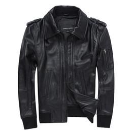 bbe97a17f4ea8 Classic Motorcycle Genuine Leather Jackets Men Luxury Sheepskin Real Leather  Bomber Jacket New Slim Fit Harajuku Biker Coats Man