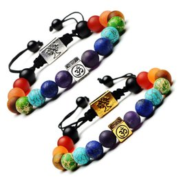 Wholesale Natural Stone Tree of Life Bracelet Yoga Chakra Bracelets Bangle Cuffs Buddha Fashion Jewelry Women Men Valentine Gift Drop Ship