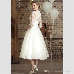 bb136360dc30 White Lace Short Country Wedding Dresses 2018 Fashion Tea Length Beach  Bridal Dresses V Neck Customize 3 4 Sleeves Buttons Back Bridal Gowns