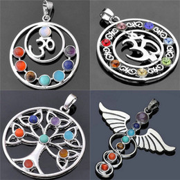 Seven link online shopping - 6 Style Natural Crystal Gemstone Religious Necklace Amulet Chakra Stones Yoga Symbols Seven Stone Pendant Necklace for Women Men Jewelry
