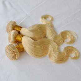 Virgin russian blonde hair online shopping - ELIBESS g piece Body wave blonde human hair bundles Russian virgin hair blonde color Hair Weft g