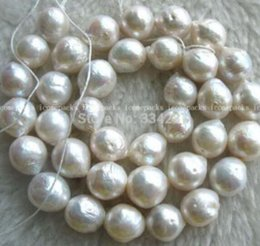 """Genuine Loose Pearl NZ - FREE SHIPPING+ wholesales Genuine Freshwater Natural pearl white reborn keshi 15.5"""" Necklace Loose beads"""