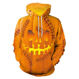 Wholesale funny sweatshirts hoodies online – oversize Halloween Hoodie Pumpkin King Skull Print Scary Sweatshirts Streetwear Funny Skeleton Hoody Men Women Hoodie Casual Pullover