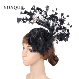 $enCountryForm.capitalKeyWord Australia - Fashion headwear fancy feathers elegant ladies fascinator chapeau wedding floral black hat women party shou hair accessory clips MILLINERY
