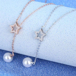 Star Pearl Pendant Australia - Fashion Rose Gold Lady Pearl Crystal Star Pendant Necklace For Women Jewelry Trendy Silver 925 Girls Clavicle Necklace Lady Gift
