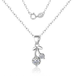 Christmas Gifts Female Australia - new fashion S925 sterling silver cherry pendants necklace women temperament shiny simple short clavicle chain necklace female party gift