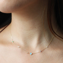 Green Plastic Chain Australia - 2018 Gold Filled Purple Green White Opal Prong Setting Link Delicate Dainty Girl Women Nice Golden Chain Necklace C19041704