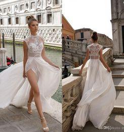 e2c37ed16ef20 2019 New High Neck Lace A-line Wedding Dresses Sexy High Slit Bohemian  Beach Bridal Gown Custom Made