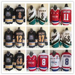 4846fe1d01c Alex Ovechkin Jerseys 1990 Vintage Washington Capitals 37 Kolzig 12 Jeff  Friesen 68 Jaromir Jagr CCM Hockey clásico cosido Rojo Blanco Negro