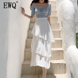new style skirt ladies 2019 - [EWQ]2019 summer new Korean style solid color loose Cascading Ruffle Mid-Calf Ladies clothing trend women White Cake ski