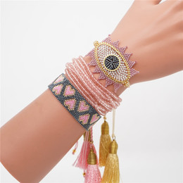 Discount armband jewelry women - ZVZO MIYUKI Beads Bracelet Turkish Evil Eye Pulseras Mujer 2019 Joyeria Heart Bracelets Mexican Jewelry Women Tassel Arm
