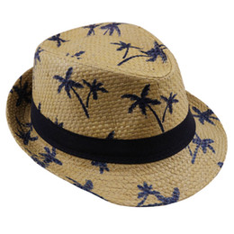 China 2019 hot sale Summer straw Sun hat kids Beach Sun hat Trilby panama Hat handwork for boy girl Children 4 colour cheap kids sun hats suppliers