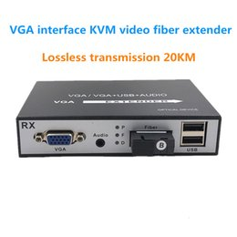Vga Fiber Australia - VGA interface KVM video fiber extender, VGA + audio + USB video optical transceiver video signal extension 20KM