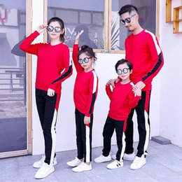 boys active pants Canada - Mother Father Kids Boy Girls Jumper + Pants Suits Mom Dad Daughter Son Sports Clothing Sets 2020 Kids Tracksuit Family Match Outfits S634