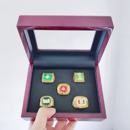tin boxes wholesale NZ - 5 Pcs 1983 1987 1989 1991 2001 Miami Hurricanes National Championship Ring Set With Wooden Box Fan Promotion Gift wholesale Drop Shipping