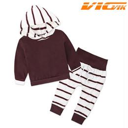 sport pajamas 2019 - 2019 Children Spring Pajamas Clothing Sets Hooded Sleepwear Tops+Stripe Pants Girls Sport Suit Girls Outfits Kids Clothi